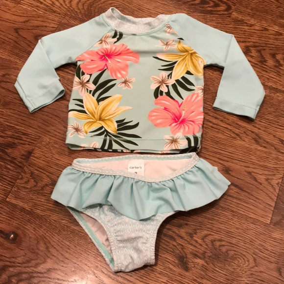 dPois Infant Baby Girls Long Sleeves Floral Rash Guard One-Piece Sun Protection Swimsuit Swimwear with Zipper